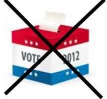 Ilustracion de una urna de votos tachada