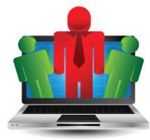 Ilustración pantalla ordenador e iconos de personas verdes y rojas