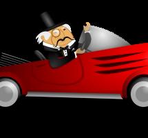 Adinerado en un coche de lujo
