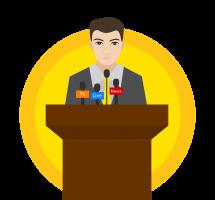 Político en rueda de prensa