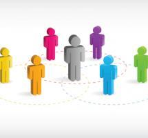 Iconos de personas de diferentes colores unidos mediante circulos