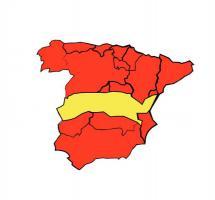 Mapa autonómico de España con los colores nacionales